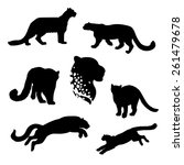 Snow Leopard Set Of Silhouette...