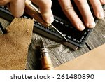 leather crafting tools still... | Shutterstock . vector #261480890