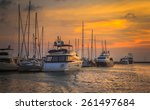 yacht parking pier with sunset