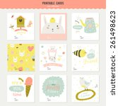 romantic and love cards  notes  ... | Shutterstock .eps vector #261498623