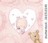 baby girl with teddy bear  love ... | Shutterstock . vector #261513140