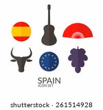 spain. icon set. vector...