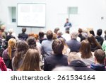 speaker giving a talk at... | Shutterstock . vector #261534164