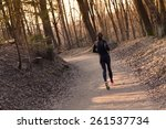 Lady Running In The Forest. ...