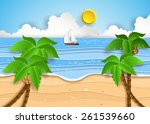 illustration of tropical beach. ... | Shutterstock .eps vector #261539660