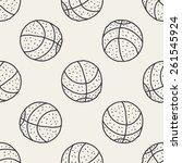 doodle baseball seamless... | Shutterstock .eps vector #261545924