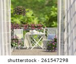 balcony  white furniture and... | Shutterstock . vector #261547298
