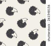 doodle hedgehog seamless... | Shutterstock .eps vector #261548156