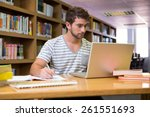 student studying in the library ... | Shutterstock . vector #261551693