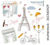 Paris Symbols  Postcard  Hand...