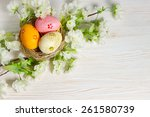 Colorful Easter Eggs In Nest...