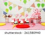 prepared birthday table for... | Shutterstock . vector #261580940