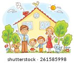 happy cartoon family with two... | Shutterstock .eps vector #261585998