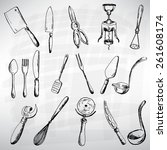 cutlery set black. sketch... | Shutterstock .eps vector #261608174