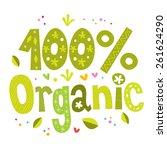 one hundred percent organic bio ... | Shutterstock .eps vector #261624290