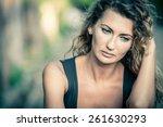 portrait of a beautiful sad... | Shutterstock . vector #261630293
