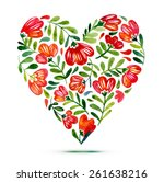 Love card with watercolor floral bouquet. Poppy flower vector illustration with heart form. delicate watercolor flowers for poster printing or design