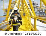fire fighter on oil and gas... | Shutterstock . vector #261643130