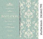 retro invitation or wedding...   Shutterstock .eps vector #261661790