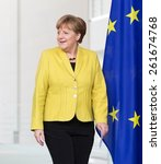 Small photo of BERLIN, GERMANY - Mar. 16, 2015: Chancellor of the Federal Republic of Germany Angela Merkel before a joint briefing with President of Ukraine Petro Poroshenko in Berlin