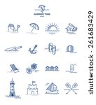 summer icons collection.... | Shutterstock .eps vector #261683429