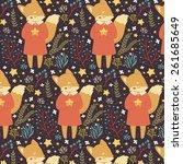 pattern with cute cartoon fox... | Shutterstock .eps vector #261685649