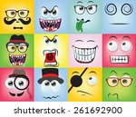 set of cartoon faces with... | Shutterstock .eps vector #261692900