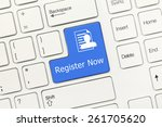Small photo of Close-up view on white conceptual keyboard - Register Now (blue key)