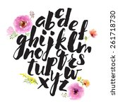hand drawn alphabet written... | Shutterstock .eps vector #261718730