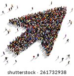 large group of people seen from ... | Shutterstock . vector #261732938