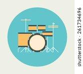Drum Icon. Flat Design