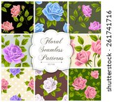 set of floral seamless patterns.... | Shutterstock .eps vector #261741716