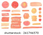set of vector oil painting...