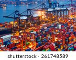 industrial port with containers | Shutterstock . vector #261748589