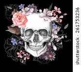 Skull And Flowers Day Of The...
