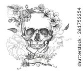 skull and flowers day of the... | Shutterstock .eps vector #261753254