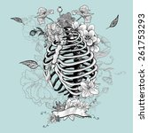 Skeleton Ribs And Flowers ...