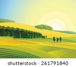 rural morning landscape with... | Shutterstock .eps vector #261791840