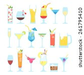 set of different alcoholic... | Shutterstock .eps vector #261795410