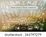 hand drawn vintage floral... | Shutterstock .eps vector #261797279