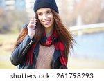portrait of pretty girl outdoor ... | Shutterstock . vector #261798293