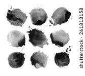 set of black vector watercolor... | Shutterstock .eps vector #261813158