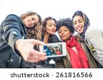Stock photo group of attractive young women of different ethnics taking a selfie students having fun best 261816566