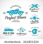 vector retro style surfing... | Shutterstock .eps vector #261821324