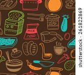kitchen related object doodle... | Shutterstock .eps vector #261822869