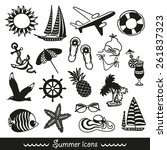 black and white summer icons... | Shutterstock .eps vector #261837323