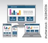 flat web design in responsive... | Shutterstock .eps vector #261842036