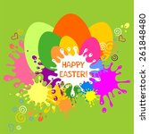 colorful easter card. green... | Shutterstock . vector #261848480