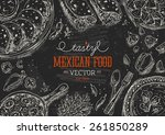 mexican food frame. linear... | Shutterstock .eps vector #261850289