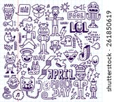 april fools day funny doodle... | Shutterstock .eps vector #261850619